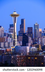 Seattle,Washington State-USA, February 15, 2015 : The Seattle skyline at twilight with the Space Needle.
