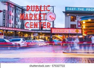 Seattle,Washington,usa. 02/06/17: beautiful Pike place market with reflection on the ground  at night..