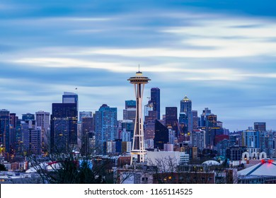 Seattle,washington,usa. 3/25/17: seattle cityscape with cloudy sky in the morning.
