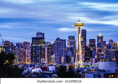 Seattle,washington,usa. 3/25/17: seattle cityscape with cloudy sky in the early morning.