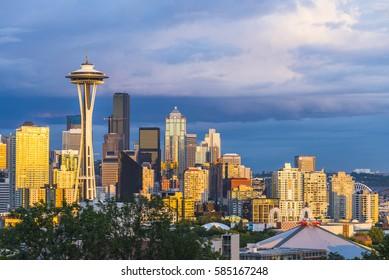 Seattle,Washington,usa. 6/15/16: Seattle cityscape at sunset with cloudy.