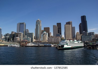 SEATTLE,WA,USA-APRIL 17: A Washington State Ferry sits docked at the Seattle Waterfront on April 17,2013. Washington State Ferries is the largest automobile and passenger ferry system in the USA.