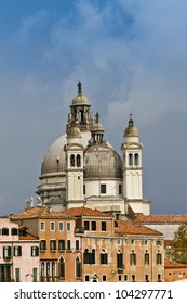 Sea-view of Basilica Santa Maria della Salute, Venice, Italy, Europe. Basilica is one of the city's symbol.