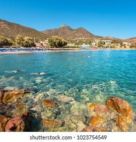 Seaview of bay and Livadi beach at Bali village. Crete Island, Greece