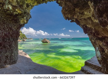 Seaview from the cave at Boracay island White Beach of Philippines