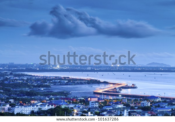 Seaview on chonburi town, Thailand, with cloud and twilight.