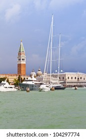 Sea-view of Piazza San Marco with beautiful yachts, Venice, Italy, Europe