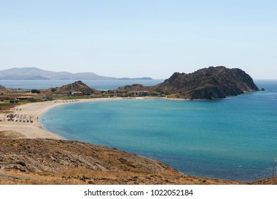 Seaview with sandy beach in Limnos island