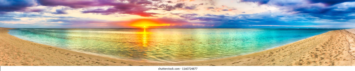 Seaview at sunset. Amazing landscape. Beautiful beach of Mauritius. Panorama