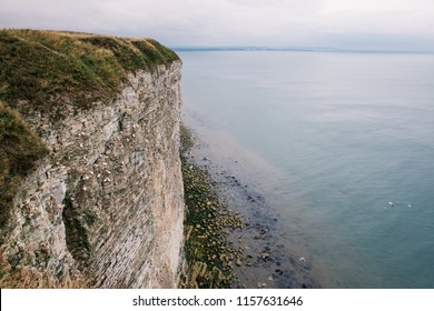Seaview with white cliff edge and North sea