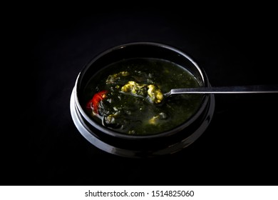 Seaweed fulvescens with oyster soup which is called Maesaengi guk, Korean seaweed soup