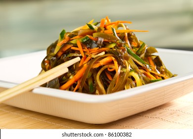 Seaweed salad with carrots and cucumbers