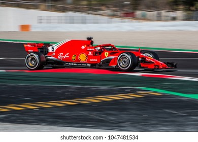 Sebastian Vettel (Germany) in the Scuderia Ferrari SF71H F1 2018 car during the F1 winter testing in March at Circuit de Barcelona-Catalunya.