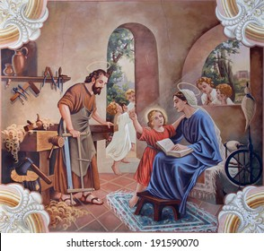 SEBECHLEBY, SLOVAKIA - AUGUS 8, 2013:Holy Family. Fresco from year 1963 by Jozef Antal in st. Michael parish church on August 8, 2013 in Sebechleby, Slovakia.