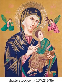SEBECHLEBY, SLOVAKIA - FEBRUARY 26, 2016: Typical catholic image of Madonna with the child (Our Lady of Perpetual Help) from the end of 19. cent. originally by unknown painter.