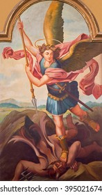 SEBECHLEBY, SLOVAKIA - FEBRUARY 27, 2016: The paint of archangel Michael from main altar of parisch church of St. Michael by L. Schramek (1928).
