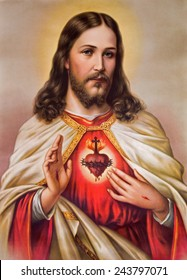SEBECHLEBY, SLOVAKIA - JANUARY 6, 2015: Typical catholic image of heart of Jesus Christ from Slovakia (in my own home)  printed in Germany from the begin of 20. cent. originally by unknown artist.