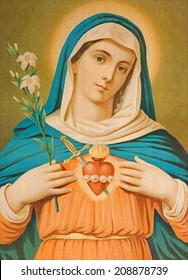 SEBECHLEBY, SLOVAKIA - JULY 30, 2014: The Heart of Virgin Mary. Typical cahtolic printed image from the end of 19. cent. originally by unknown painter.