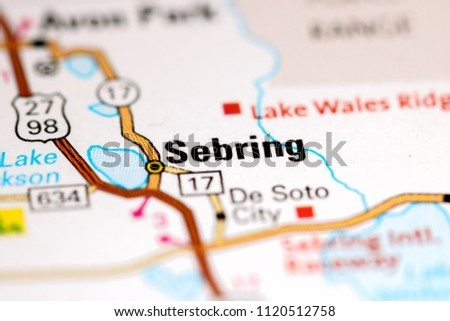 Sebring Florida USA Map Stock Edit Now