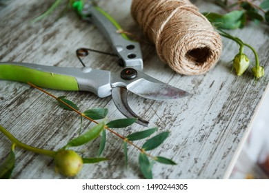 Secateurs on a wooden background next to greens. Concepts of floristry, bouquet assembly, floristry, handmade details