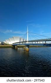 SECC convention center & Bridge on the Clyde River, Glasgow Scotland.