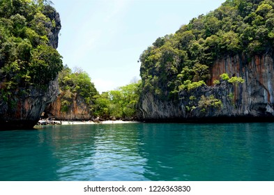 Secluded beach on Koh Lading among the Hong islands in the Phang Nga Bay, Thailand