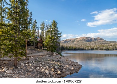Secluded cabin sits on the shore of Trial Lake in the High Uinta Mountains of Northern Utah in Summit County, no People