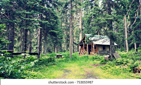 A secluded cabin in the woods.