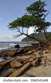 Secluded spot on the edge of Maracas Bay beach in Trinidad and Tobago