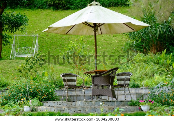Secluded Summer Garden Patio Parasol Swing Stock Photo Edit Now 1084238003