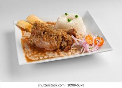 seco de cabrito, Peruvian recipe consisting of a goat stew accompanied by beans