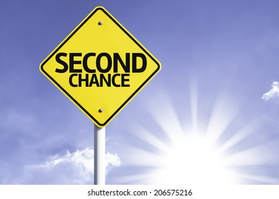 Second Chance road sign with sun background