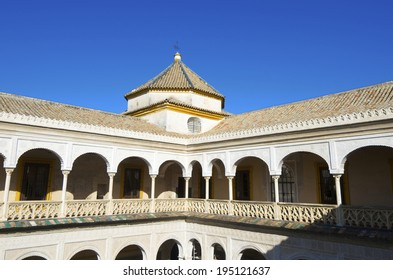 second floor of the main courtyard in the palace of Pilatos, Seville, Andalucia, Spain