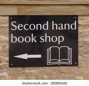 """Second Hand Book Shop"" Sign, Devon, England, UK"