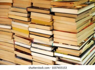 Second hand books in a bookstore, library, flea market