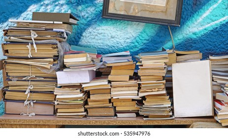 Second hand books at flea market stall