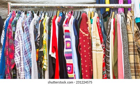Second hand clothes on sale at a market