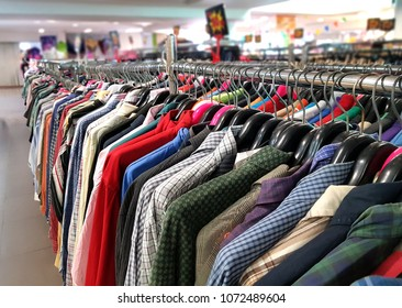 second hand shirts for sale in flea market.