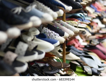 Second hand shoes in local Thai#-Cambodian  border market