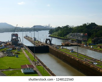 The second lock of the Panama canal from the Pacific ocean. Panama City.