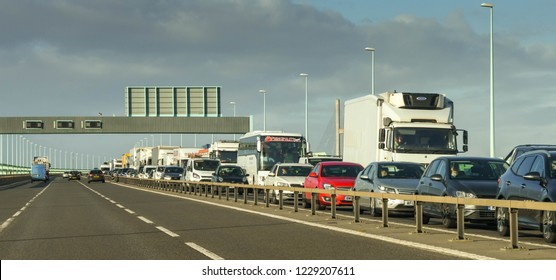 SECOND SEVERN CROSSING, WALES - NOVEMBER 2018: Long queue of traffic eastbound on the M4 motorway on the  Second Severn Crossing, now named The Prince of Wales bridge.