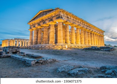 The Second Temple of Hera in Paestum, Southern Italy. The magnificent beauty of history framed with the technology of modern times.