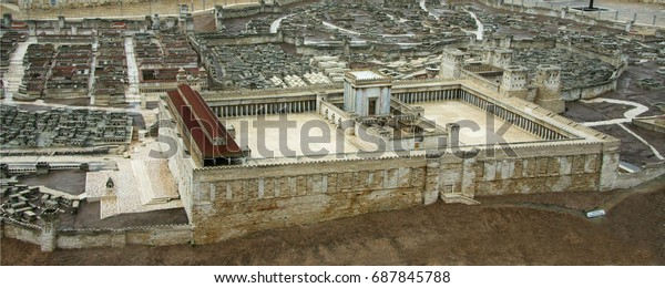 Second temple from the south Israel, Jerusalem - January 3, 2015: The model shows the view of the ancient Jerusalem and the Second Temple before its destruction by the Romans.