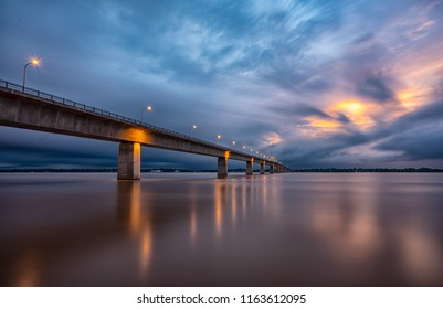 Second Thai-Laos Friendship Bridge,Bridge across the Mekong River. Thai-Laos friendship bridge, view from Mukdahan Province, Thailand