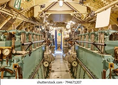Second war world submarine interior. Engine room. Military vessel. Horizontal