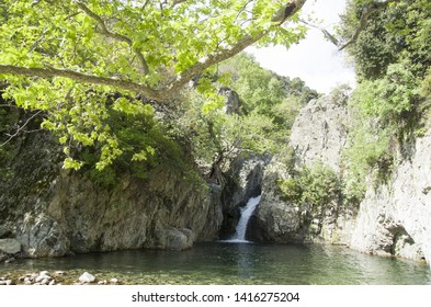 Second waterfall falling through the cliffs on Fonias river at Samothrace island in Greece