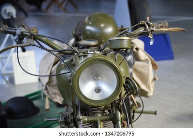second world war motor bike and helmet