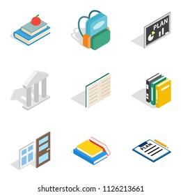 Secondary education icons set. Isometric set of 9 secondary education icons for web isolated on white background