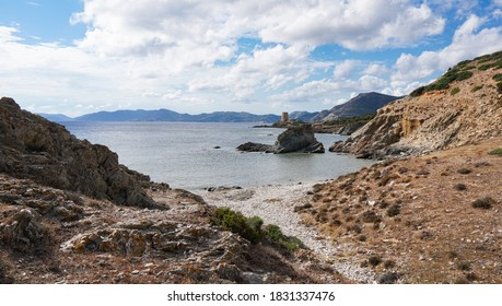 Secret bay and tower in Sardinia