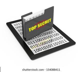 Secret document folder on computer tablet